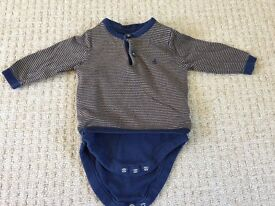 M&S baby top with integrated vest, size 3-6 months