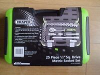 "DRAPER 25 PIECE 1/2"" SQ DRIVE MATRIC SOCKET SET BRAND NEW"