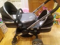 i candy twin pram/ pushchair with car seats