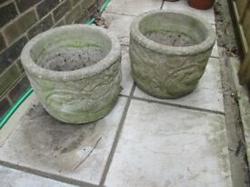 Two Stone Planters Very Heavy