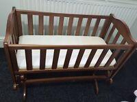Crib - Saplings glider walnut crib & safety mattress. Hardly used & fab condition