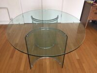 Contemporary glass dining table, 160cmx130cm oval,