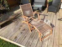 Wooden sun lounger from homebase