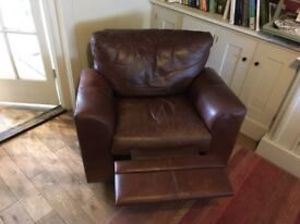 Brown Leather small reclining arm chair good condition.