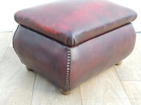 Ox blood leather Chesterfield stool with storage (Delivery)