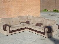 Really nice brown and beige cord large corner sofa. 1 month old.clean and tidy. can deliver