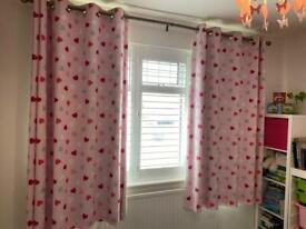 Dunelm Hearts Blackout Eyelet Curtains with Rod