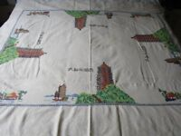 Antique Japanese Hand Stitched Linen Tablecloth