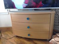 Bow fronted modern chest of drawers