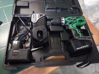 Hitachi DS14DVF3/JR 14.4v Cordless Drill Driver 2 x batteries