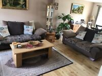 Set of 2 and 3 seats sofa with an armchair with coffee table and 3 pieces nest of table.