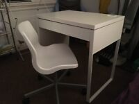 White office desk MICKE and swivel chair SNILLE