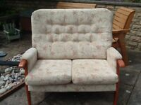 2 SEATER TEAK FRAMED COTTAGE STYLE SETTEE