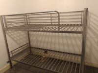 Bunk Bed (Silver Metal) with Mattresses - Excellent Condition - £110 only!
