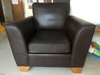 Excellent condition - Brown Leather 3 seater sofa and arm chair from M&S