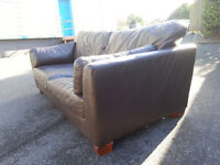 Brown 3 Seater Leather Sofa Couch - DELIVERY AVAILABLE
