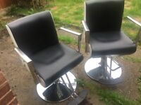 SALON BARBER CHAIR, WALL SHELVE & HAIR WASHING BASIN EXCELLENT CONDITION
