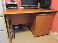 Desk with drawer unit and chair