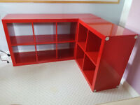 IKEA Expedit / Kallax High Gloss Red Shelving Unit x2