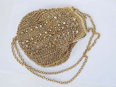 Ladies Disco Bag Beaded Purse Golden Blink, Pop Fashion 1980s, Italy