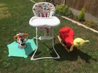 3 baby/toddler haighchair rocking chair and spinning seat