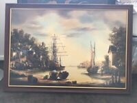 Large painting of vintage harbour by Ken Hammond