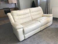 SCS Teso White Leather Three Seater Sofa