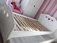 White Ashley single bed with under draw storage