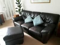 Brown leather sofa + footstool