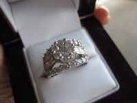 White gold large diamond engagement or dinner ring over 2ct diamonds priced to sell