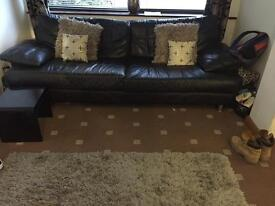 Two 4 seater sofas real leather black