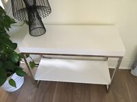 White and chrome console table