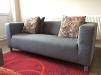 KLIPPAN sofa and stool grey IKEA £99 ONO