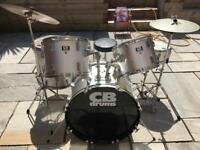 CB acoustic drum kit, cymbals and stool