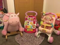 Rocking horse and baby walkers.