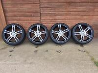 """17"""" 4 Stud ZCW Gloss Black Polished Alloy Wheels with good condition Low Profile tyres"""
