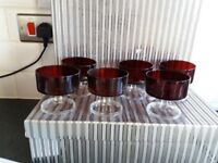 Set of 6 red glass bowls. Antique