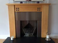 Fireplace surround, harth and gas fire