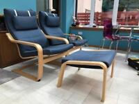 Poang Chairs with Navy Cushion (x2) and matching footstool
