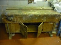 old school wooden workbench