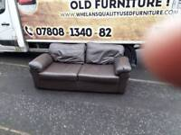 3 seater sofa in brown leather £95 mint mint condition