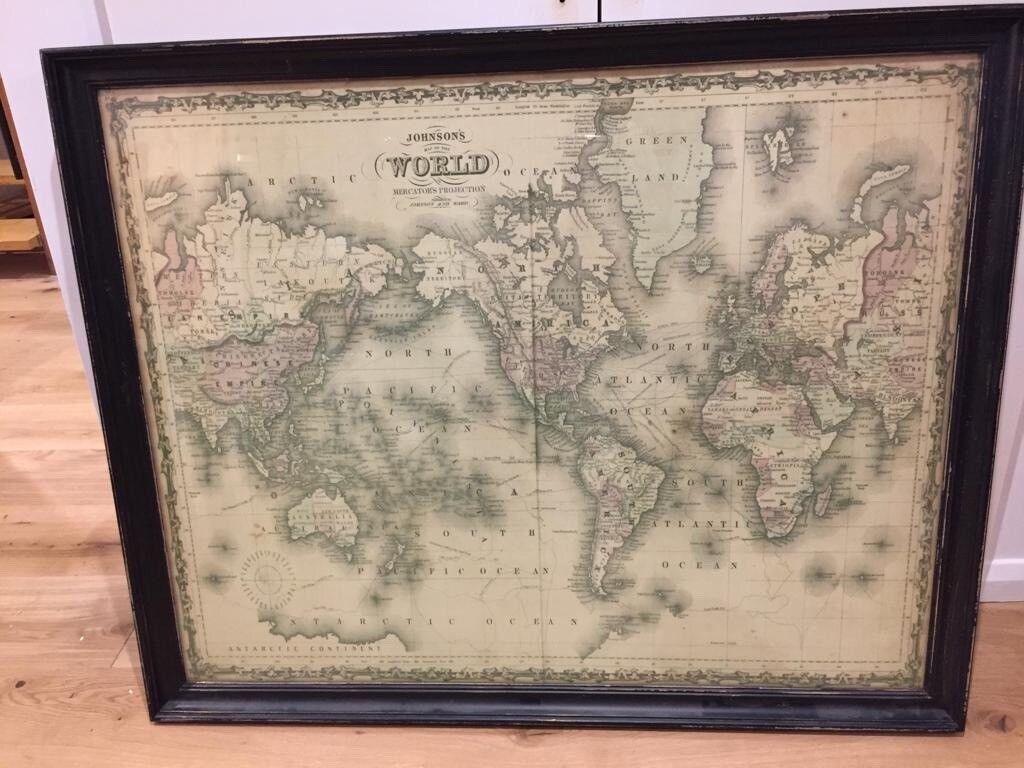 Decorative World Map In Frame In Headington Oxfordshire Gumtree