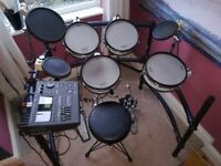 Roland TD10 V-drum kit, module / brain, flight case, and LOADS OF EXTRAS!