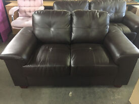 Brown Leather Sofa - 3 Seater & 2 Seater