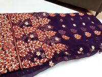 Pure chiffon fabric with embroidery
