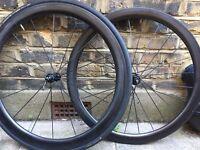 PlanetX 50mm 700c Road/Race bike Wheels - Carbon, Tubular, with Shimano freehub