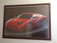 Large pine framed Ferrari print. 108 x 78 cm