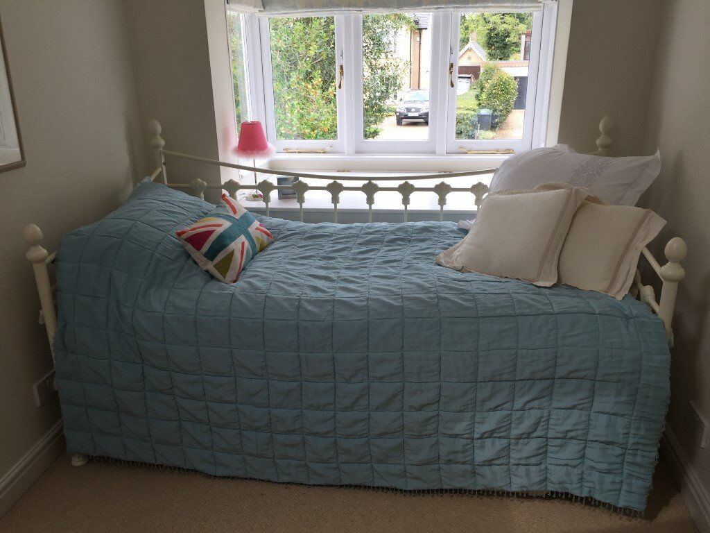 Cream Metal Bed with Trundle and 2x John Lewis Mattresses - Excellent Condition