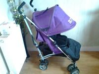 BEAUTIFUL, SPOTLESSLY CLEAN, PURPLE PUSHCHAIR WITH FOOTMUFF & RAINCOVER** FREE DELIVERY HULL**