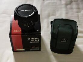 Sigma 17-35mm F2.8 F4 Nikon fit full frame lens